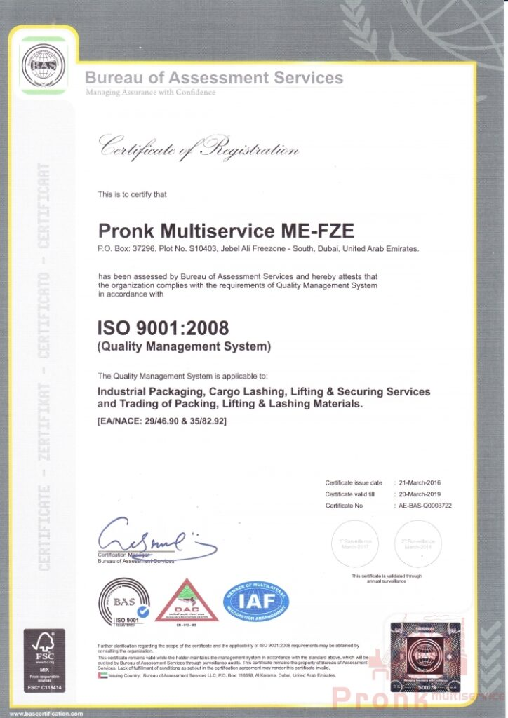 pronk multiservice dubai is an iso certified company