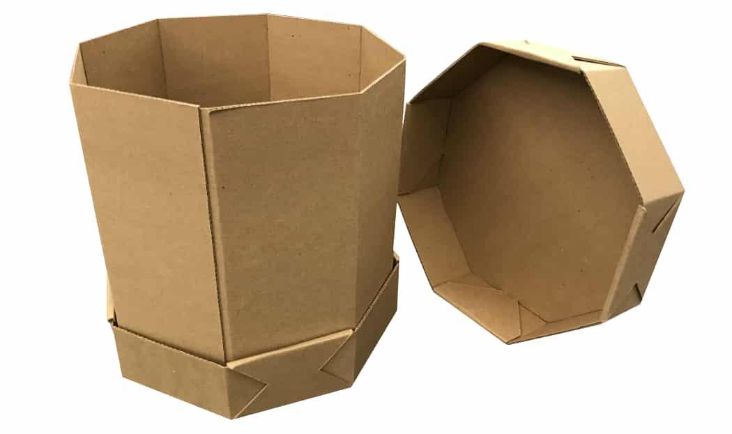 octagon fiberboard box
