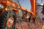 Ship loader lashing with 16mm steel wire rope